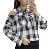 2017 New Arrival Women Shirts Bow Plaid Blusas Mujer Long Sleeve Open Shoulder Tops Female Blouses