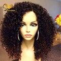 130 Densidade Kinky Curly Perucas Malaio Virgem Do Cabelo Humano Bizarro Afro perucas 7A Glueless Cheia Do Laço Perucas de Cabelo Humano Para As Mulheres Negras