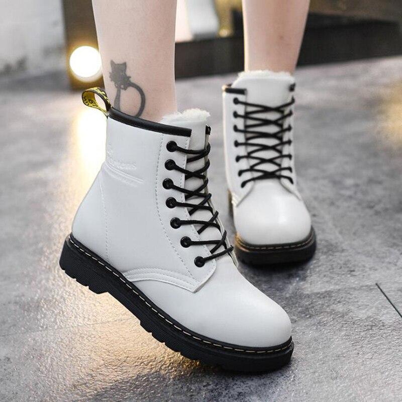 Women ankle boots 2018 warm winter shoes lace-up women snow boots platform women martin boots zapatos de mujer цена