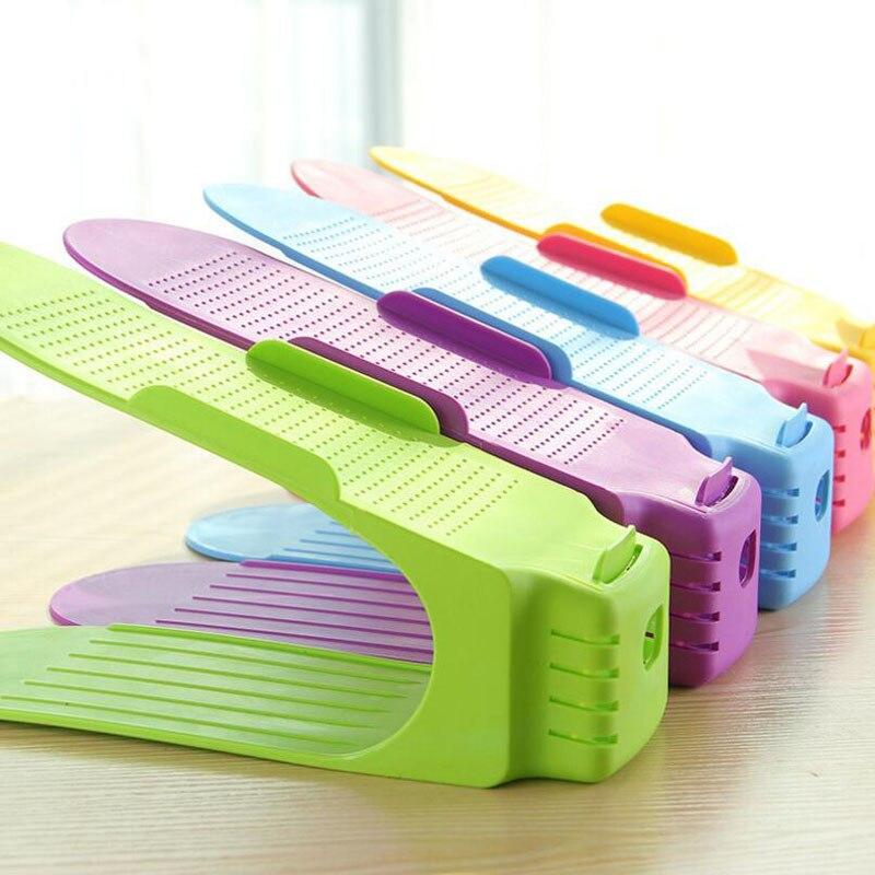 5 stks Schoen Rekken Plastic Dubbele Houder Opslag Schoenen Rek Woonkamer Handig schoenendoos Schoenen Organizer Stand Plank M65C