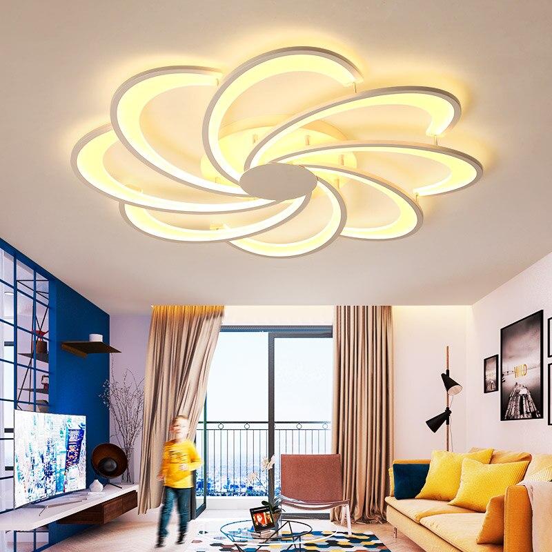 Blanc plafond lustre moderne LED créativité matériel acrylique lustre éclairage pour salon salle à manger luminaria lustre