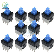 10pcs Square 8x8mm 6 Pin DPDT Mini Push Button Self-locking Switch G64 Multimeter Switch 8*8 mm(China)