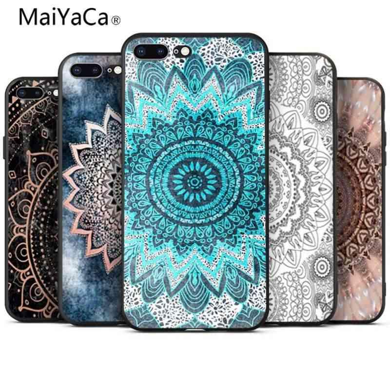 Maiyaca In Blue Mandala Black Tpu Soft Rubber Phone Case For