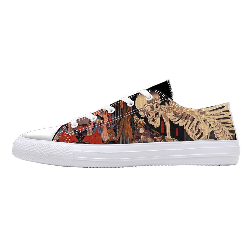 New Style Skull Print Low Top Canvas Shoes for Man Teenage Boys Casual  Sneakers Fashion Lace Up