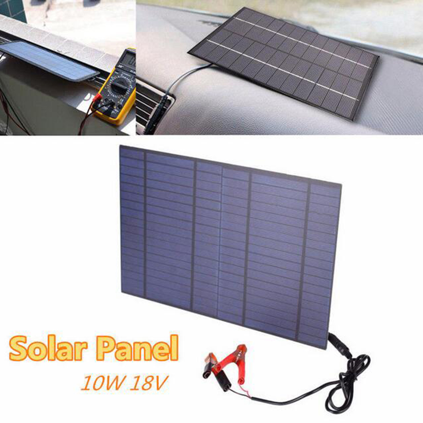 10W 18V polysilicon solar panel with DC5521 bus battery clip