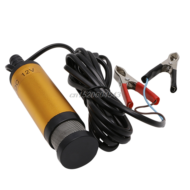 DC12V Stainless Steel Submersible Diesel Fuel Water Oil Pump 12L/Min 38mm Gold R06 Drop Ship 51mm dc 12v water oil diesel fuel transfer pump submersible pump scar camping fishing submersible switch stainless steel