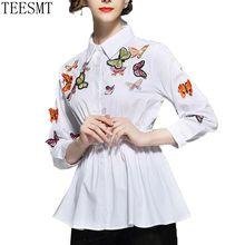 2018 Spring Summer Women's Three-dimensional Butterfly Embroidery  Shirts elasticity waist Blouses Ladies  Tops