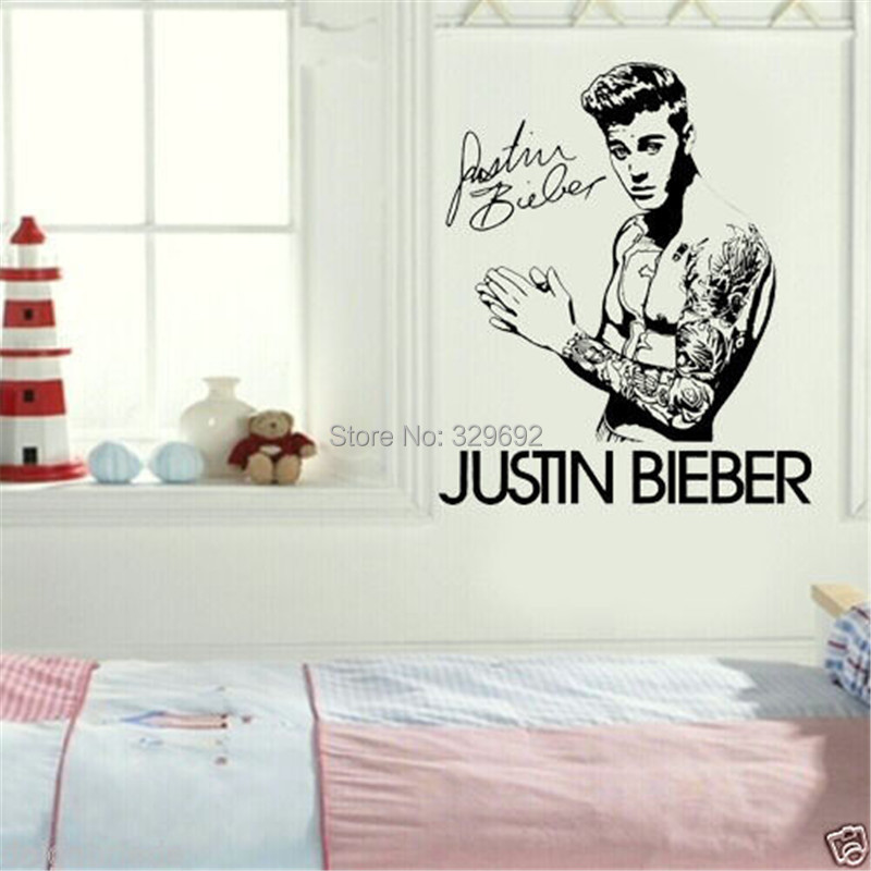 Celebrity Justin Bieber DIY Autograph Wall Art Sticker/Decal Home  Decoration Vinyl Wall Sticker( Part 56