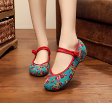 New Arrival Old Peking Women's Shoes Chinese Flat Heel With Flower Embroidery Comfortable Soft Canvas Shoes Size 34- 41