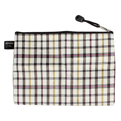 Beige Brown Check Printed Zippered A5 Paper Document File Bag 17cm Width