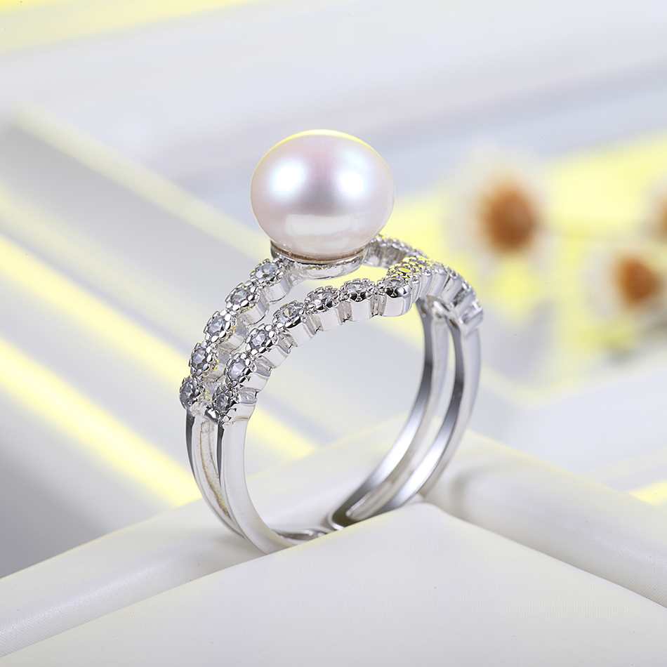 Elegant Design Natural White Pearl Ring for Women Wedding Jewelry Gifts 8-9MM Freshwater Pearl Ring Fine Jewelry Wholesale FEIGE