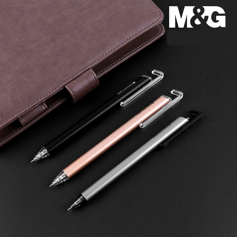M&G 10pcs/lot Multifunction Phone Holder Gel Ink Pen 0.5mm Retractable Extra Fine Rollerball Pens Black Blue Office SuppliesM&G 10pcs/lot Multifunction Phone Holder Gel Ink Pen 0.5mm Retractable Extra Fine Rollerball Pens Black Blue Office Supplies