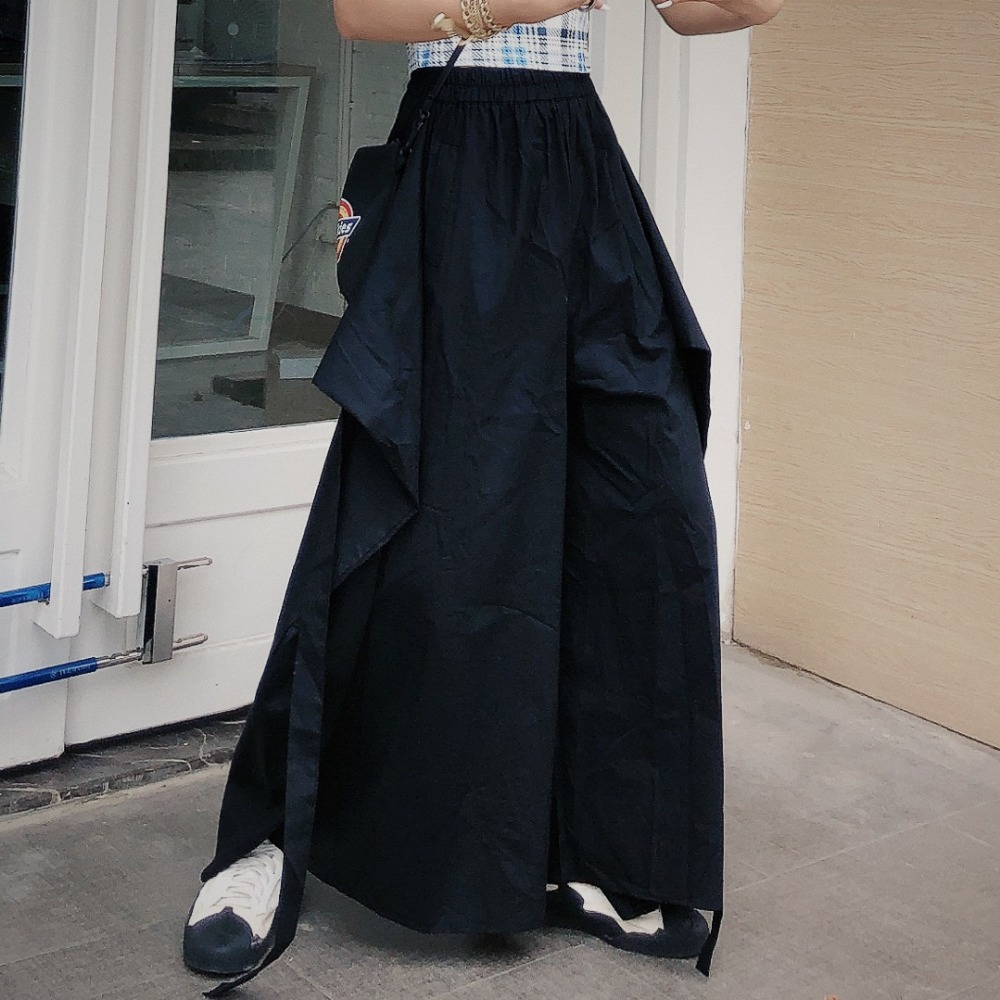 High-waisted broad-legged trousers Japanese ribbon Samurai trouser fashionable and lazy leisure pant