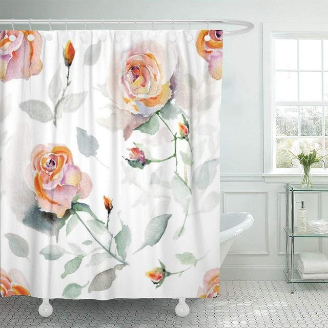 Fabric Shower Curtain With Hooks Colorful Painterly Watercolor Roses Pink Abstract Appearance Beautiful Black Blank