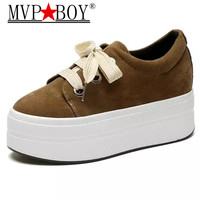 MVP BOY Hot Sale New Women's Suede Leather Platform Shoes Breathable Lady casual Shoes lace up girls loafers flats mother shoes