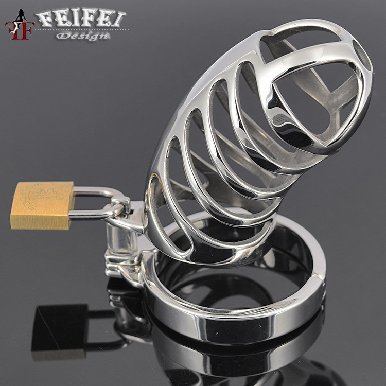 ФОТО New 85*35mm Stainless steel chastity device cock cage metal CB6000 male penis cage chastity belt penis lock sex toys for men