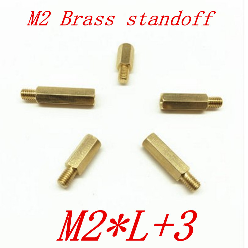 100pcs/lot <font><b>M2</b></font>*L+3 2mm <font><b>Brass</b></font> <font><b>Standoff</b></font> Spacer Male Female <font><b>M2</b></font> <font><b>Brass</b></font> Threaded Spacer hex spacer length 4mm to 60mm image