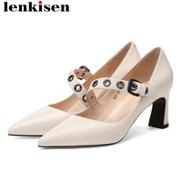 2019 British style high heels oxford pointed toe genuine leather pumps buckle strap sexy nightclub wedding dance woman shoes L97
