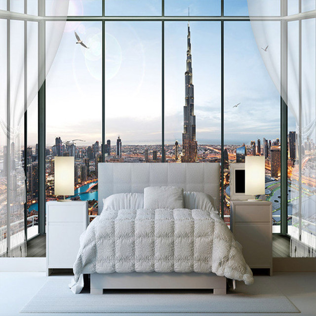 European Style 3D Stereo Window City Building Photo Wall Murals Wallpaper  Living Room Bedroom Interior Decor Papel De Parede 3 D