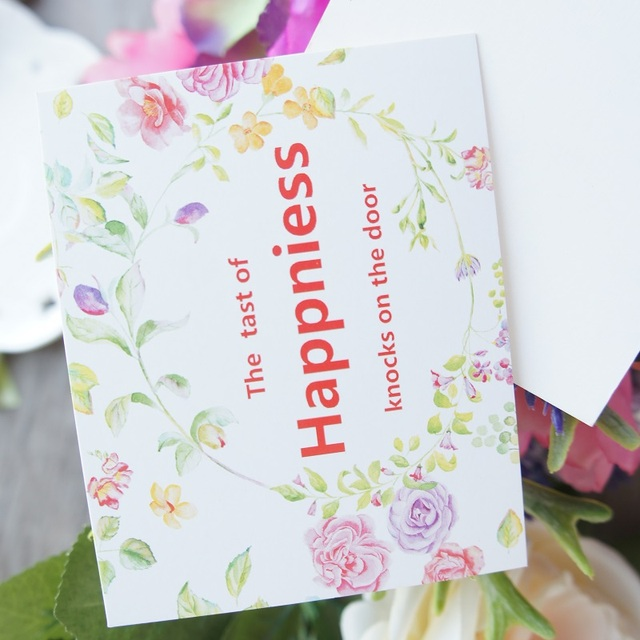50pcs happiness taste theme simple flower style leave message 50pcs happiness taste theme simple flower style leave message cards lucky love valentine christmas party invitation stopboris Image collections