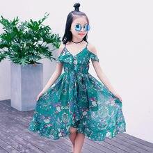 21d910b19472 2019 vestido de verano Niñas 4 6 8 10 12 14 años flor imprimir niños, vestidos  para niñas de encaje vestido de niños ropa Casual.