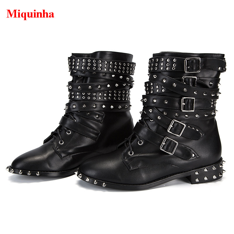 95ee488dc9c Aliexpress.com  Compre Miquinha Cool Women Motocycle Boots Spikes Studded  Multi Belt Buckle Ankle Boots Black Soft Leather Stacked Heels Bota Feminina  de ...