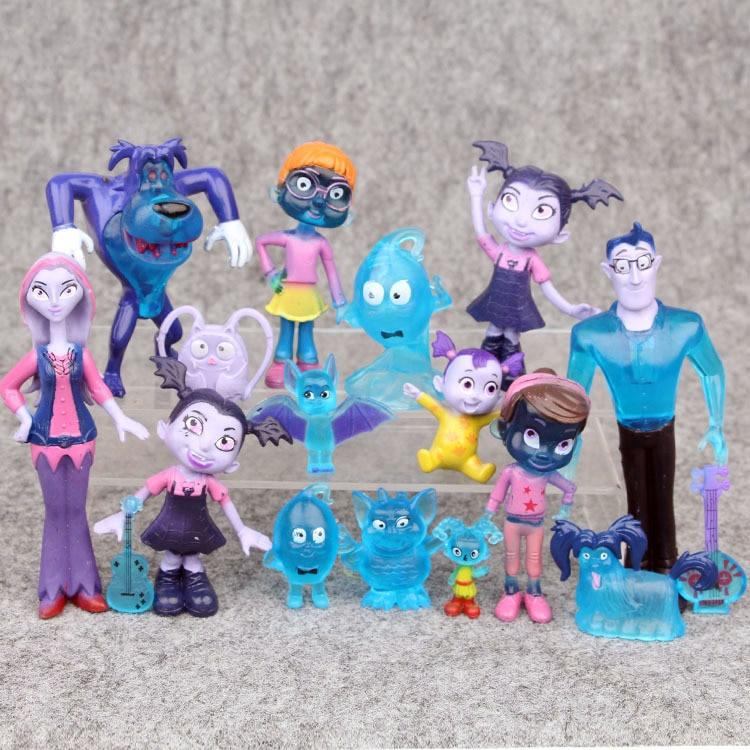 3-12 см 17 шт./компл. фильм Junior Vampirina Batwoman девочка собака смолы фигурку игрушки куклы аниме игрушки для дети День рождения подарок
