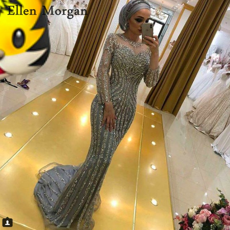 Silver Long Sleeves Mermaid Evening Dresses 2018 Sheer Neck Pattern Beaded Red Carpet Celebrity Formal Prom Party Gowns