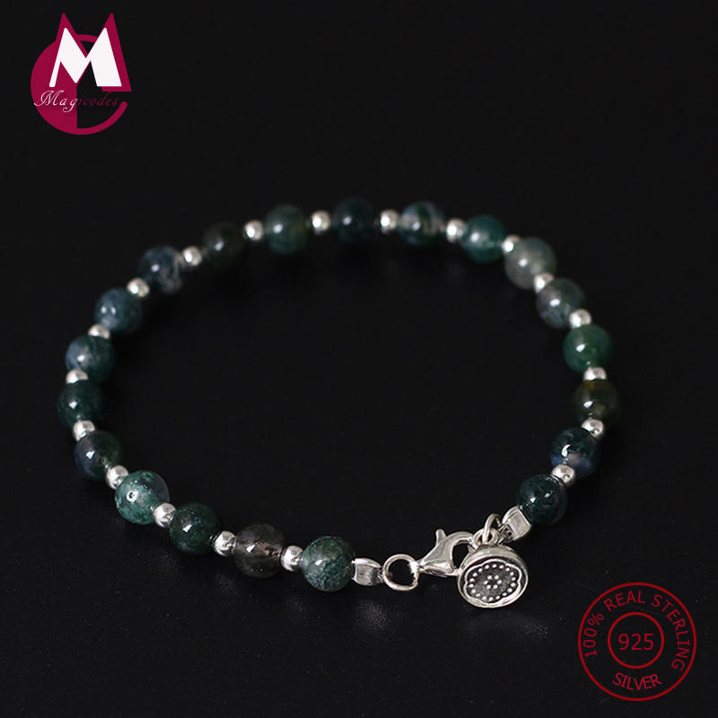 S925 Sterling Silver Bracelet & Bangle For Women Original Natural Stone Beads Agate Bracelets Cute DIY Bangle Fine Jewelry YB21