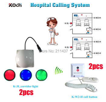 Nurse wireless system for nuring home K-W2-H installed on each elderly bed and room light for nurse from outside
