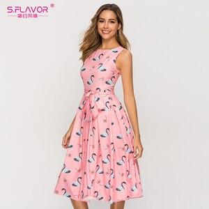 Image 5 - S.FLAVOR Summer Fashion Sleeveless Women Dress Vintage Style Pleated A line Vestidos De Female Women Retro Midi Dresses