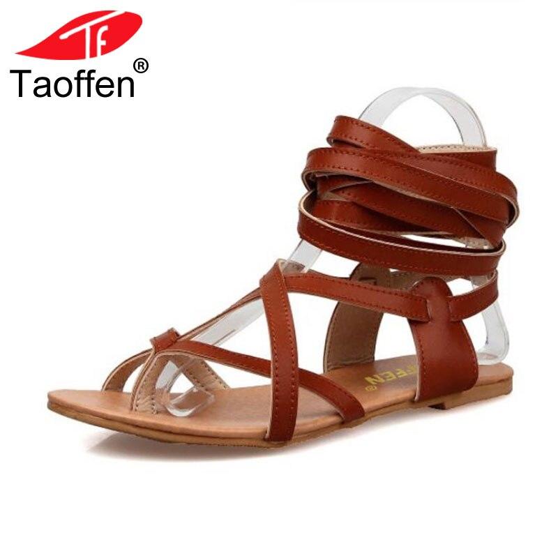 TAOFFEN Size 30-50 Women Shoes Classic Design Gladiator Sandals Women Flat Shoes Bohemia Lace-Up Sandals Women Sandals PA00608 цена 2017