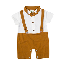 Newborn Kids Baby Boys Infant Outfits Gentleman Romper Suspenders Short Sleeves Button Romper Toddler Boy Summer Clothing Formal baby kids summer outfits infant toddler baby kids unicorn romper toddler girls rainbow with unicorn bubble romper clothing
