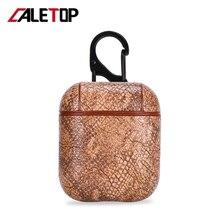 Caletop capa de couro artesanal para airpods, fone de ouvido sem fio, estojo protetor para airpod i12 tws