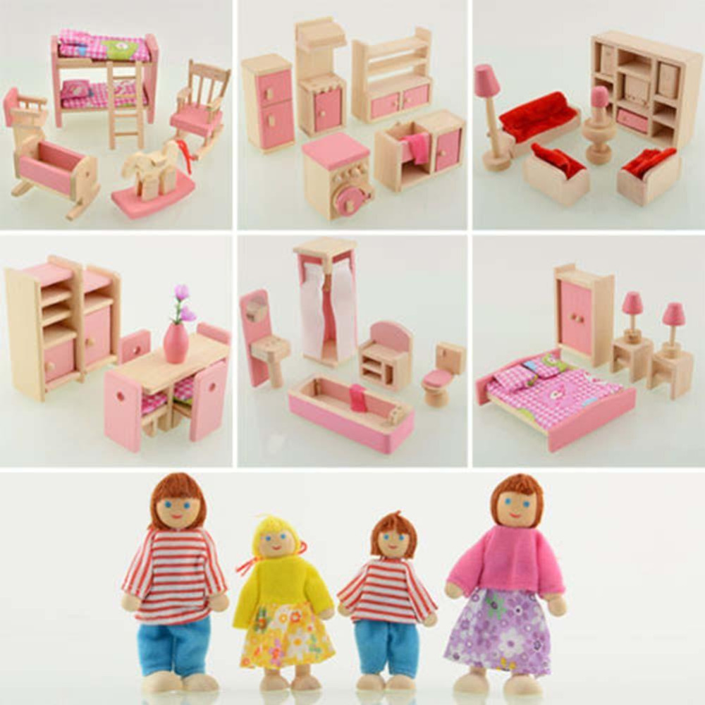 Kids Bedroom Furniture Kids Wooden Toys Online: Wooden Dolls House Furniture Miniature Kitchen Bed Living