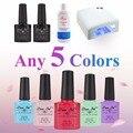 Nail Art Pro DIY Full Set Soak Off Uv Gel Polish Manicure set 36W Curing Lamp Kit any 5 colors&base top Set nail gel nail tools