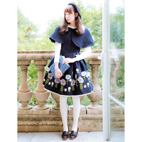 Sweet Lolita JSK Jumper Skirt Wool Embroidered Pleated Dark Navy Lolita Dress!New years Dress!Spring, Summer, Fall, Winter!