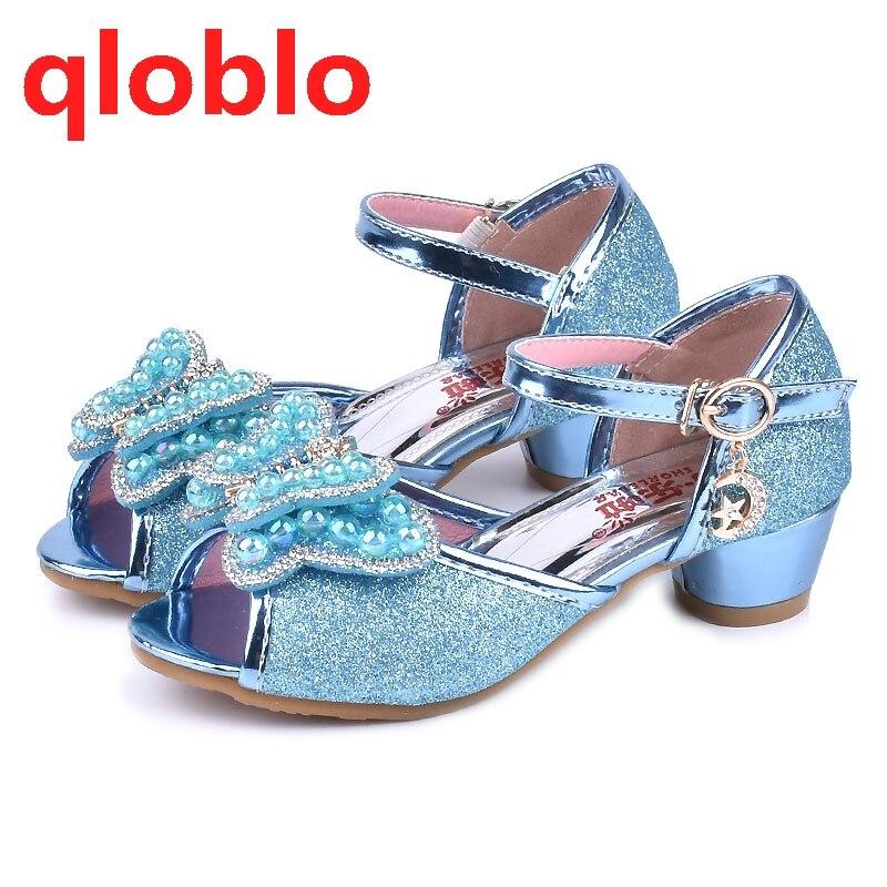 qloblo 2018 summer sandals kids princess shoes children high heels girls  sandal children leather shoes 1e9bdf6fd2ae