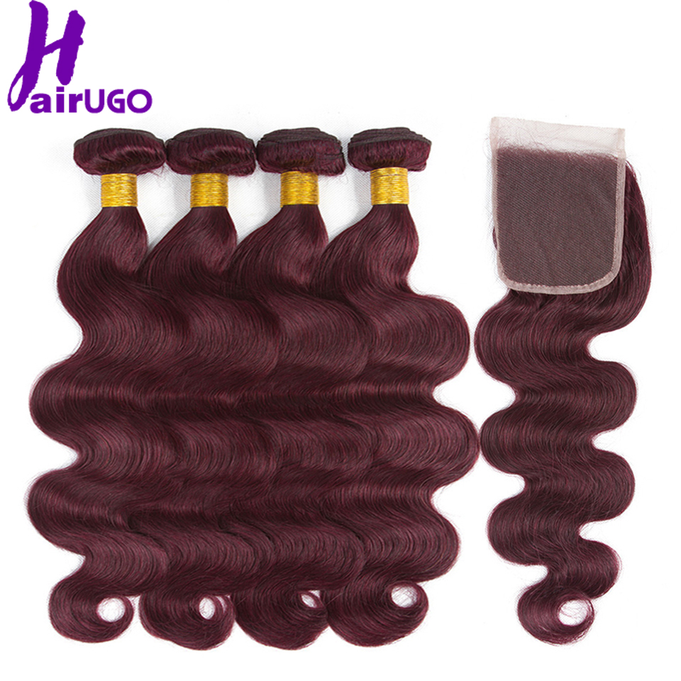 HairUGo Malaysian Body Wave Hair Bundles With Closure 99J Burgundy Human Hair Bundles With Closure Non Remy Pre-colored Weaves