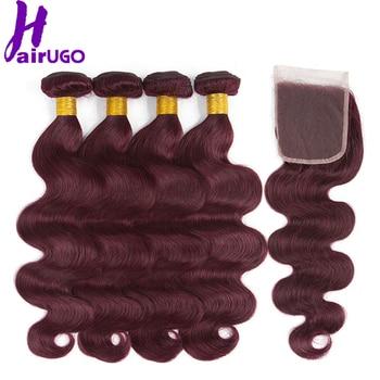 HairUGo malayo de la onda del cuerpo paquetes de pelo con cierre 99J Borgoña  Ombre paquetes de cabello humano con cierre no Remy armadura del pelo e87e57ca8bb6