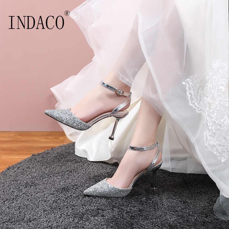 חתונה נעלי עקבים גבוהים נצנצים קרסול רצועת משאבות נשים נעלי 8.5 cm