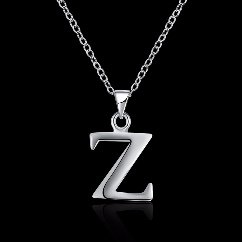 Letter Z Necklace ALP Classic letter Z pendant standard 925 sterling silver chain fashion very  simple style female pendant necklace dating party-in Pendant Necklaces from  Jewelry ...