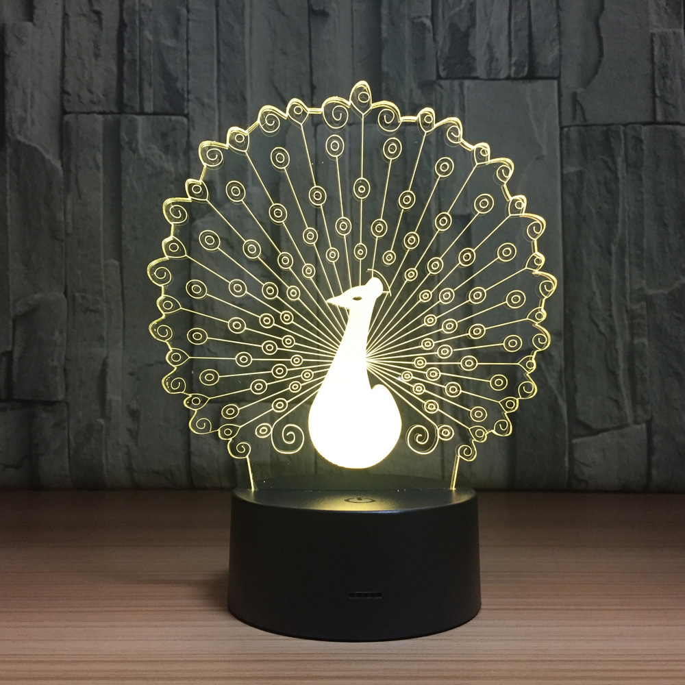 Peacock 3D Lamp LED Night Light Atmosphere Night Lamp USB 7 Colors Change LED Touch Lights for Birthday Party Gift Drop Shipping