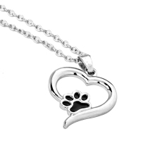 Hollow Pet Paw Print Necklaces Cute Animal Dog