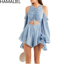 2018 Runway Summer Holiday Beach Rompers Playsuits Sexy Off Shoulder Blue Dot Chiffon Hollow Out Long