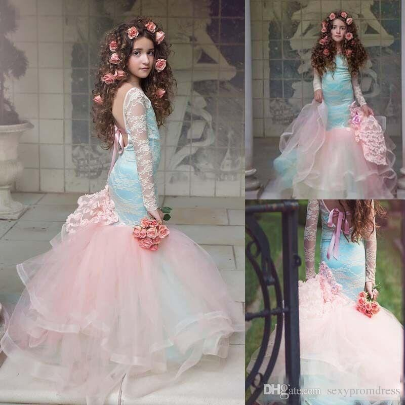 9bc67318df9 New Style Mermaid Flower Girl Dress Appliques Lace Tulle First
