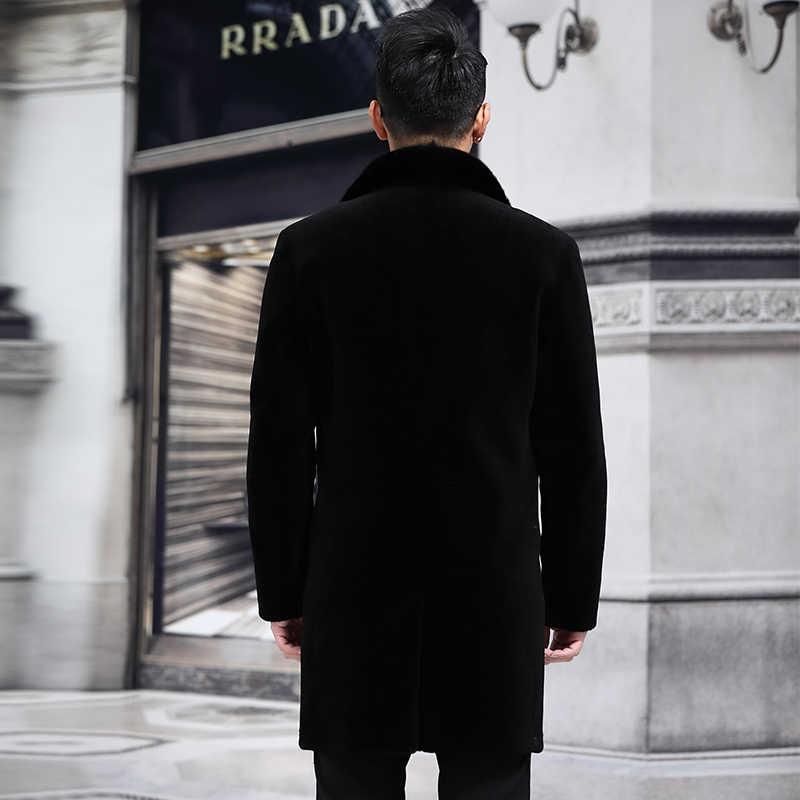 Nowy strzyżenie owiec, skórzana kurtka z futrem, garnitur męski, długa norka włosy kołnierz P1080