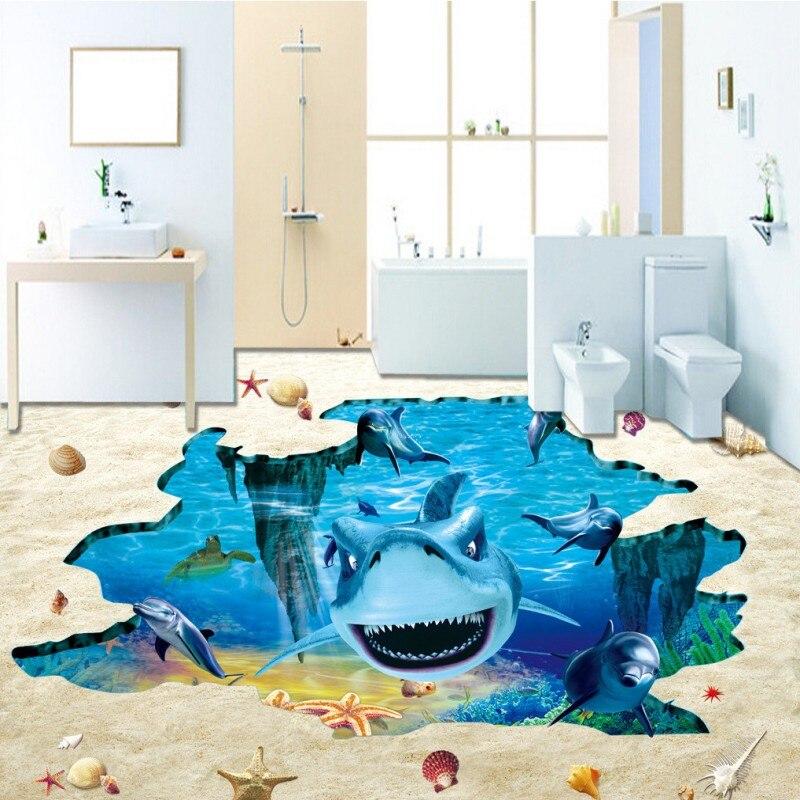 US $138.88 38% OFF|Freies verschiffen badezimmer aquarium dekoration  Fantasie Unterwasserwelt Shark Delphin selbstklebende bodenbelag tapete ...