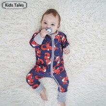 de2426a720cbd SR373 nouveau-né bébé garçons fille barboteuses en coton à manches longues  renard imprimé combinaison