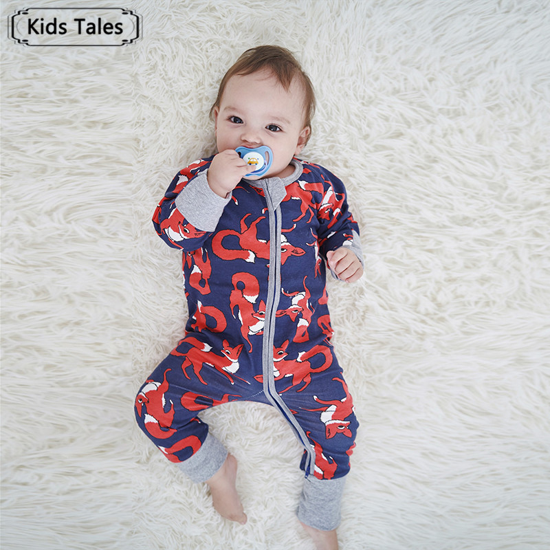 SR373 Newborn Baby Boys Girl Cotton   Rompers   Long Sleeve Fox Print Jumpsuit Sleepwear Toddler Costume Baby Overalls Bebe Clothes